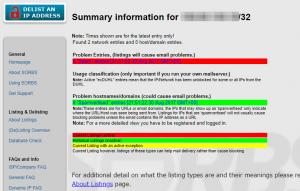 SORBSでのIPアドレスのチェック結果