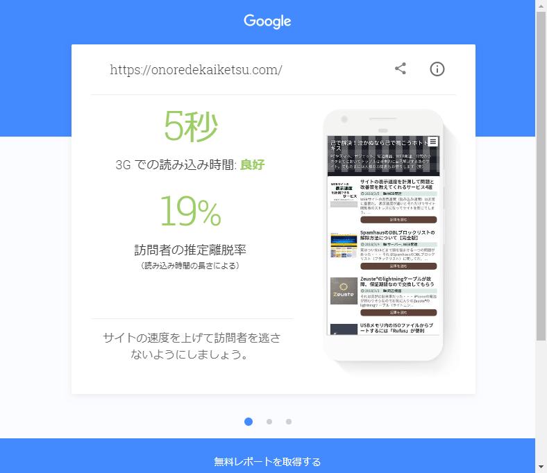 Test My Site(テストマイサイト)での結果(対策前)①