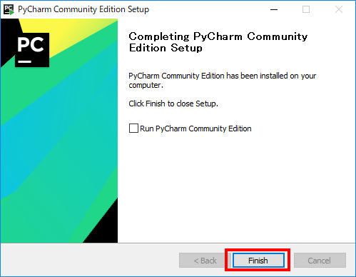 PyCharmインストール完了画面