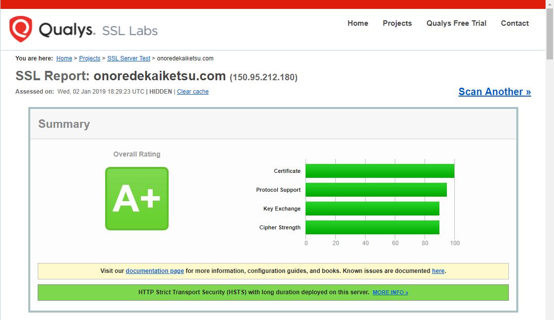 「SSL Server Test」実行結果画面