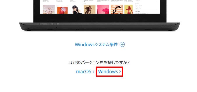 「ほかのバージョンをお探しですか?」の「Windows」をクリック