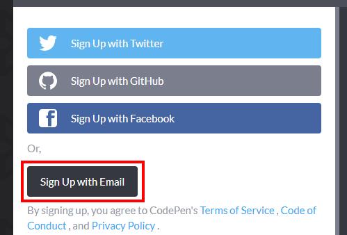 CodePenのユーザー登録方法の選択