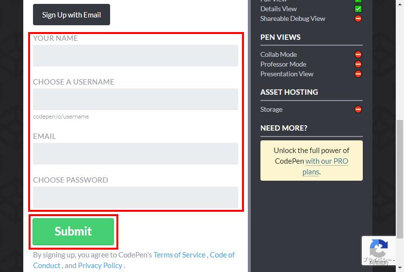 CodePenのユーザー情報を入力