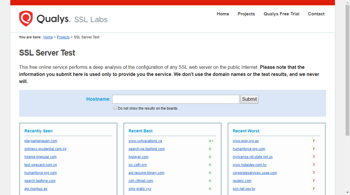 Qualys SSL LABSの「SSL Server Test」