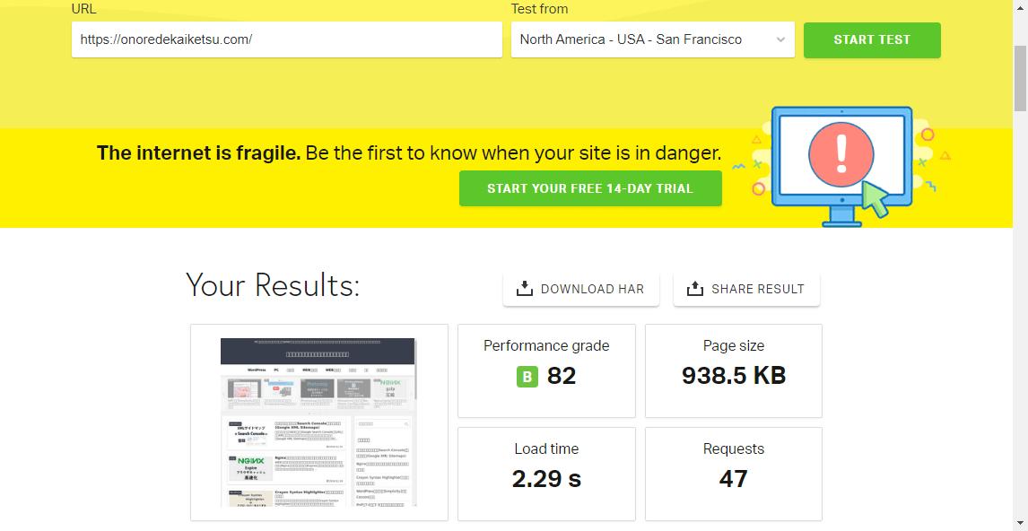 Pingdom Website Speed TestでのOPcacheとAPCuインストール前テスト