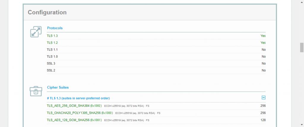SSL CheckのプロトコルとCipher Suites