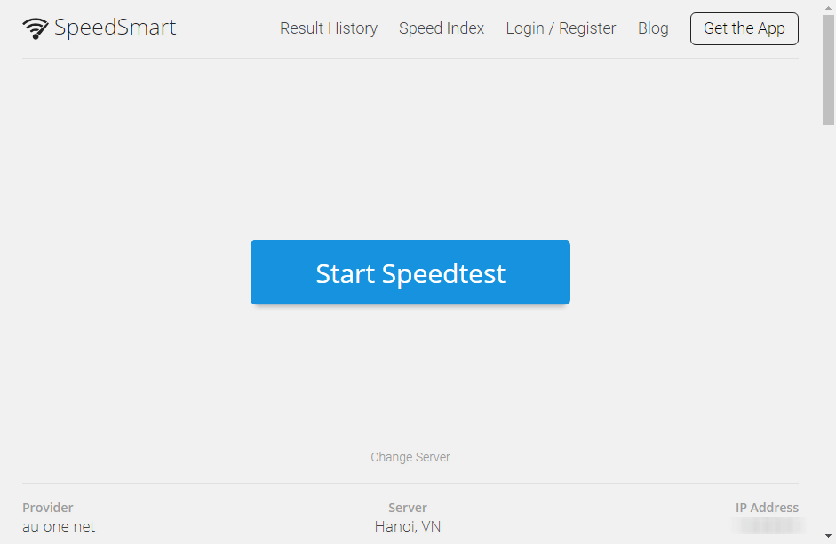 SpeedSmart Speed Testページのキャプチャ画像