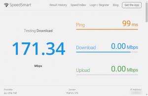 SpeedSmart Speed Test測定中のキャプチャ画像