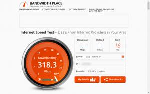 Bandwidth Placeで測定中のキャプチャ画像