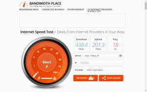 Bandwidth Placeでの測定結果