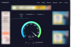 Ookla Speedtestで測定中のキャプチャ画像