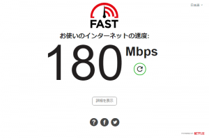 Fast.comでの測定結果