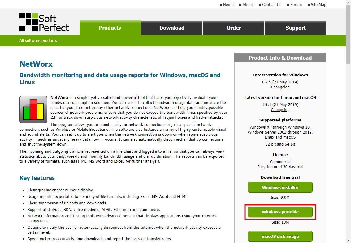 NetWorxダウンロードページ