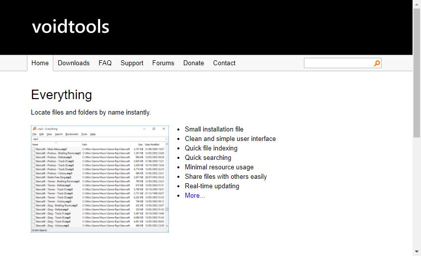 Everything公式サイトのスクリーンショット