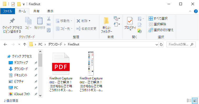 FireShotで保存したスクリーンショットのフォルダとデータ
