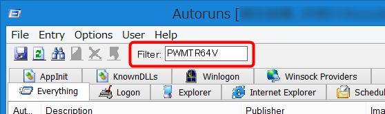 Autorunsで「PWMTR64V」を検索
