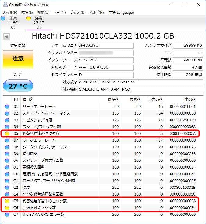 ローレベルフォーマット前のHDDのSMART値