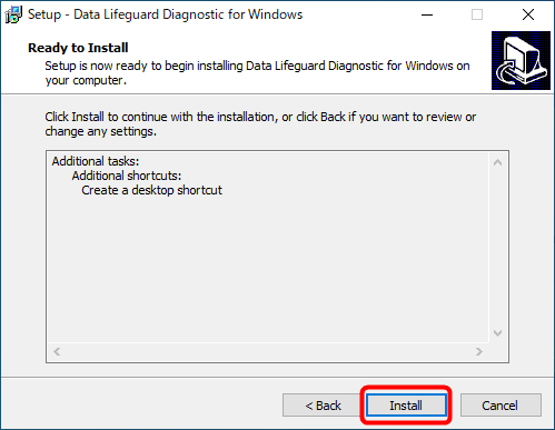 Data Lifeguard Diagnosticのインストール画面(2)