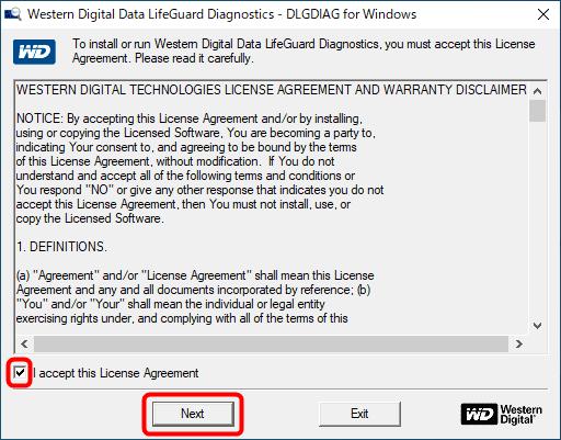 「Data Lifeguard Diagnostic」のライセンス確認画面