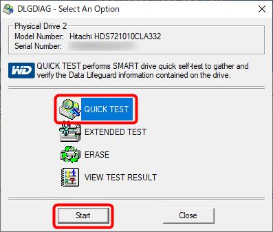 QUICK TESTを実行