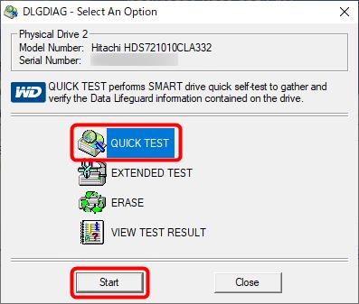 「QUICK TEST」を実行(2度目)