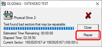 「Repair」をクリックして不良セクタを修復