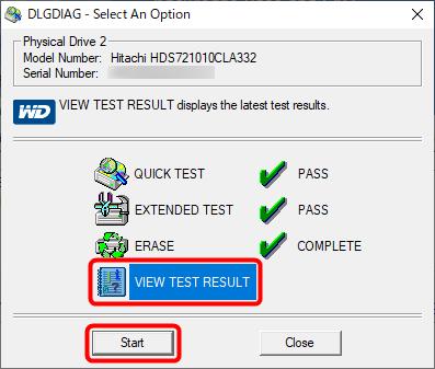 「VIEW TEST RESULT」を選択して「START」をクリック