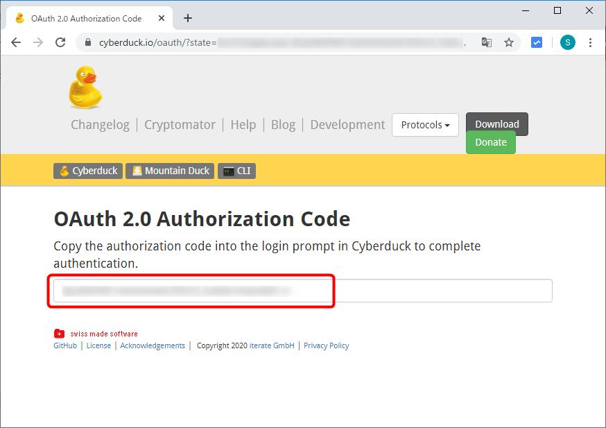 Authorization Code(認可コード)をコピー