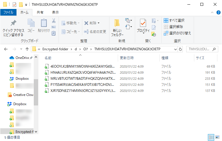 Dropboxサーバ上ではランダムな文字列のファイル名に変換されている