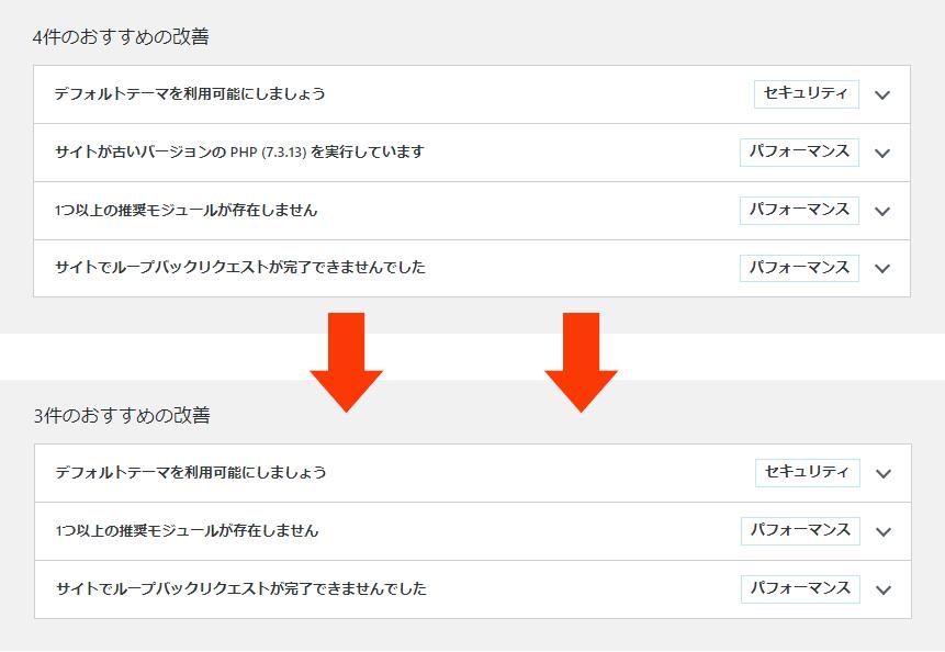 PHP7.4へアップグレード後のサイトヘルスステータス画面