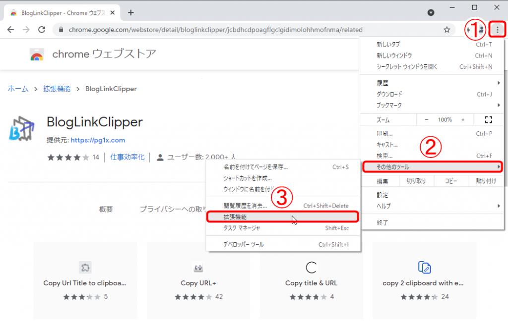 Chromeの「メニューアイコン」⇒「その他ツール」⇒「拡張機能」をクリック